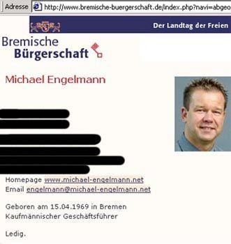 Infoseite des Abgeordneten Engelmann auf der Website der Bremischen Bürgerschaft (Screenshot). Der SPD-Politiker legte sein Mandat gestern nieder.