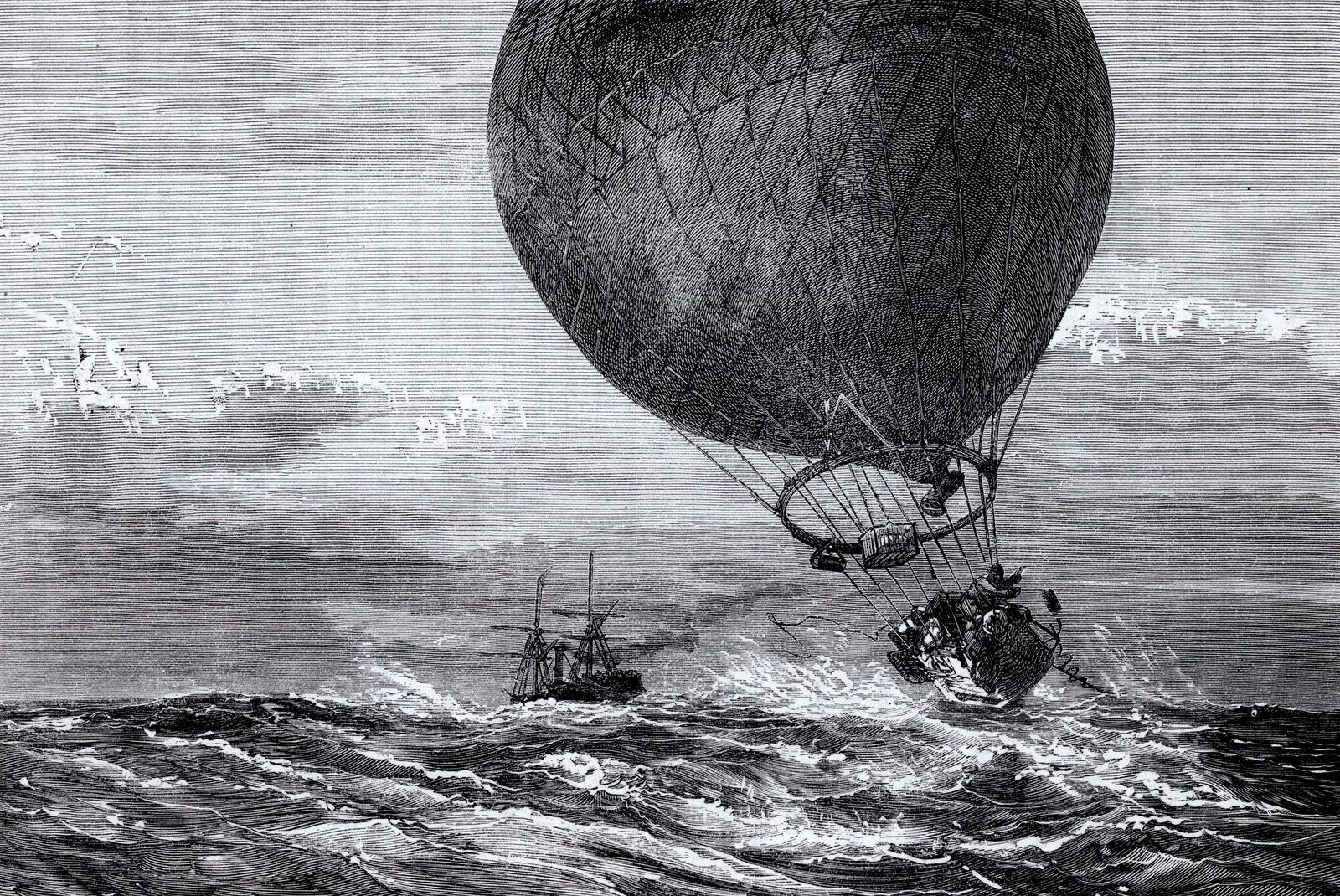 AEROSTATION Le ballon (la Ville d Orleans) de Paul ROLIER (1844-1918) et Leon BEZIERS aeronautes du siege de Paris, rase