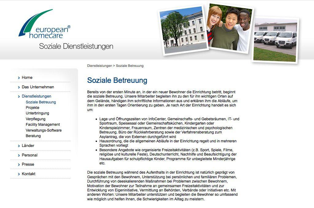EINMALIGE VERWENDUNG homecare.com/ Screenshot