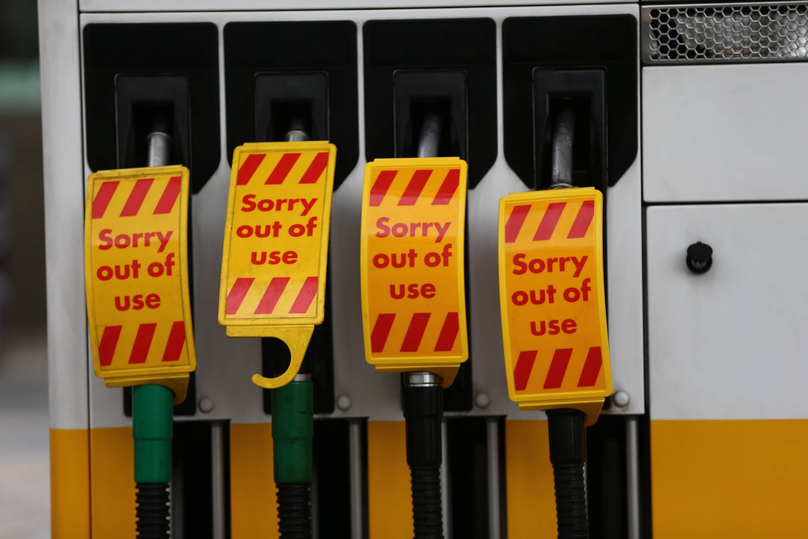 September 26, 2021, London, England, United Kingdom: An empty petrol station which ran out of petrol due to driver shor