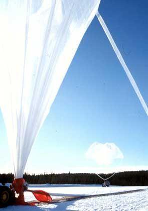 Versuch der Raumphysiker in Kiruna: Start eines Versuchsballons