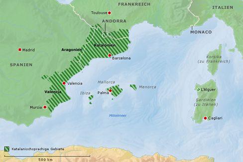 Übersicht über die Gebiete, in denen Katalanisch gesprochen wird (zur Vergrößerung bitte klicken).