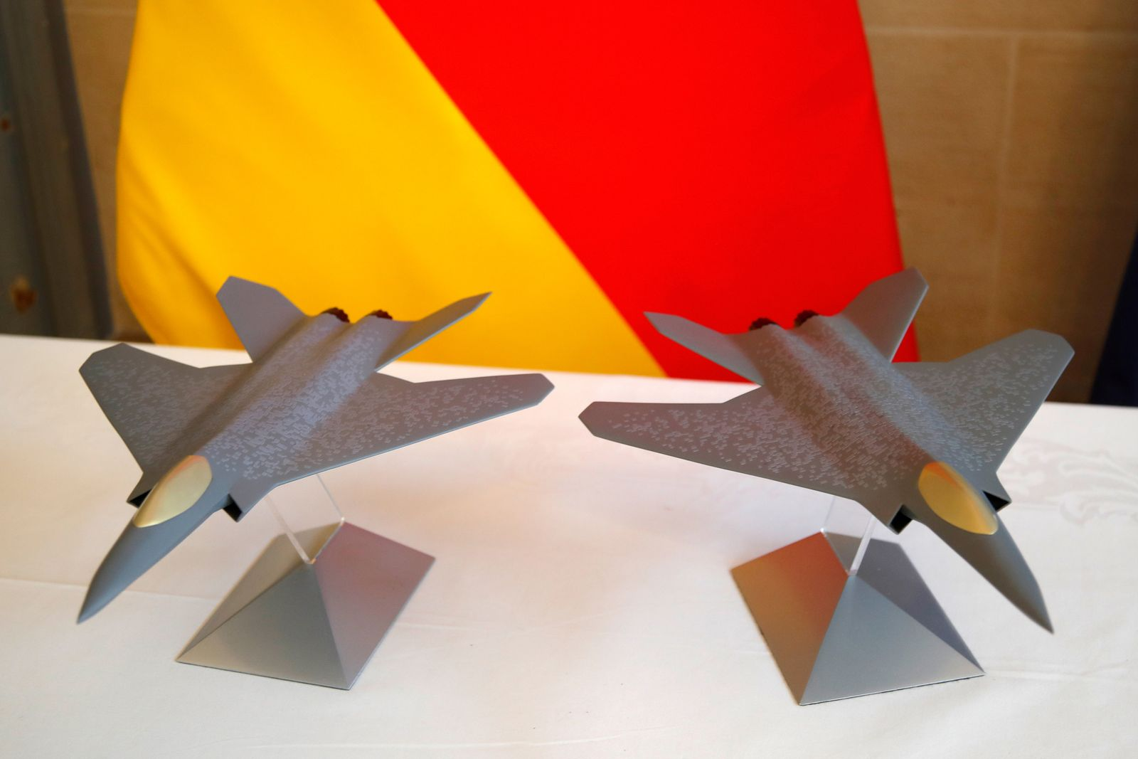 FILE PHOTO: Scale models of the Franco-German-Spanish Future Combat Air System (FCAS / SCAF)