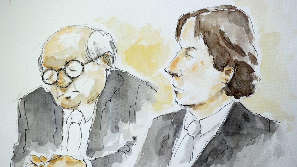 Skizze aus dem Gericht: Der Angeklagte Jörg Kachelmann und sein Anwalt