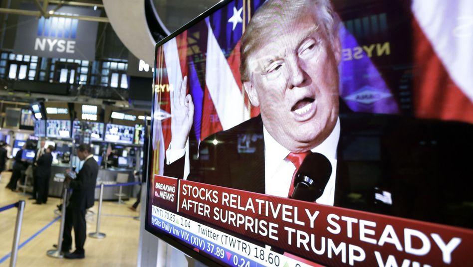 Donald Trump auf Bildschirm an der New Yorker Börse