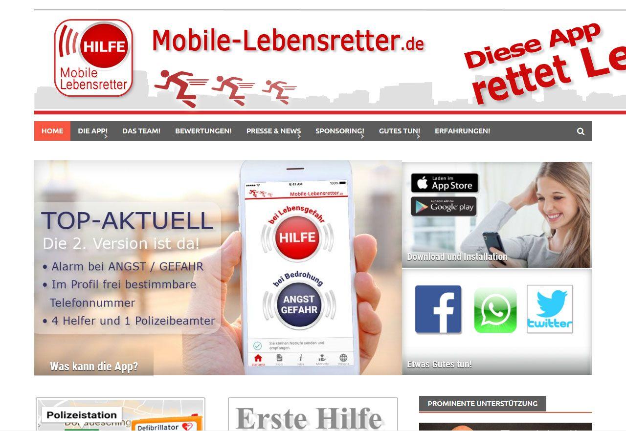 EINMALIGE VERWENDUNG Screenshot App Mobile Lebensretter