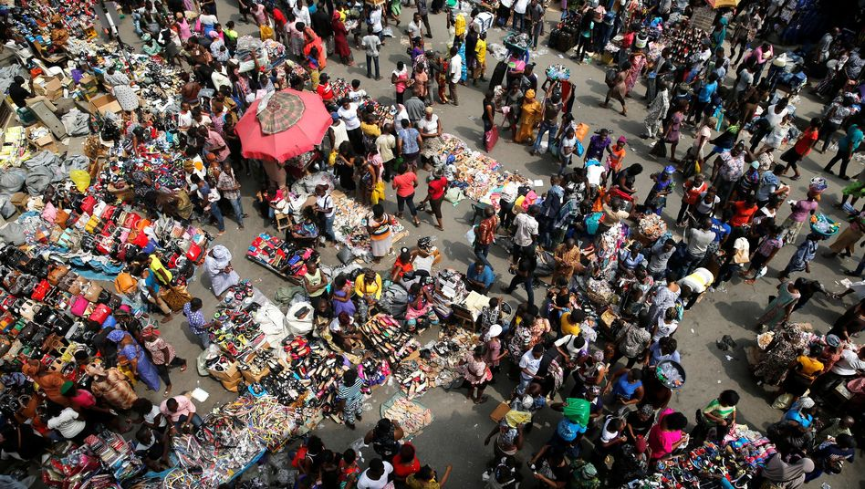 A crowded market square in central Lagos.
