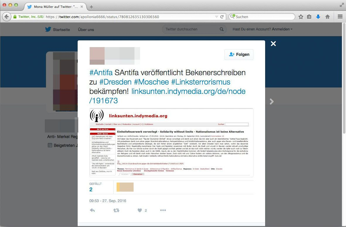 EINMALIGE VERWENDUNG Screenshot/ Twitter/ Anschlag Dresden