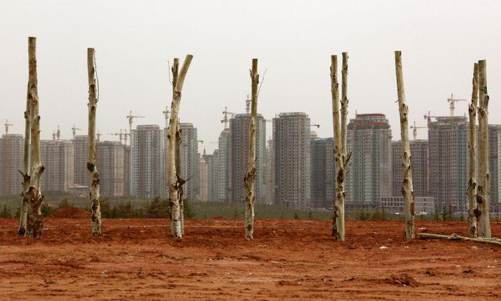 Geisterstadt Ordos: Baukräne bis zum Horizont