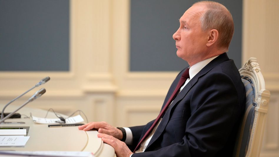 Wladimir Putin während seiner Teilnahme am digitalen Klimagipfel: Gespräche mit der Ukraine nur in Moskau