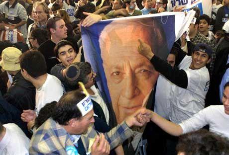 Wahlparty des Likud-Blocks: Im Februar 2001 siegt Ariel Scharon über Ehud Barak