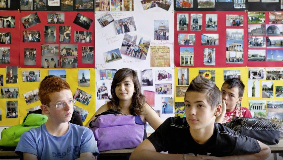 Schüler einer Deutschklasse in Pont d'Ain
