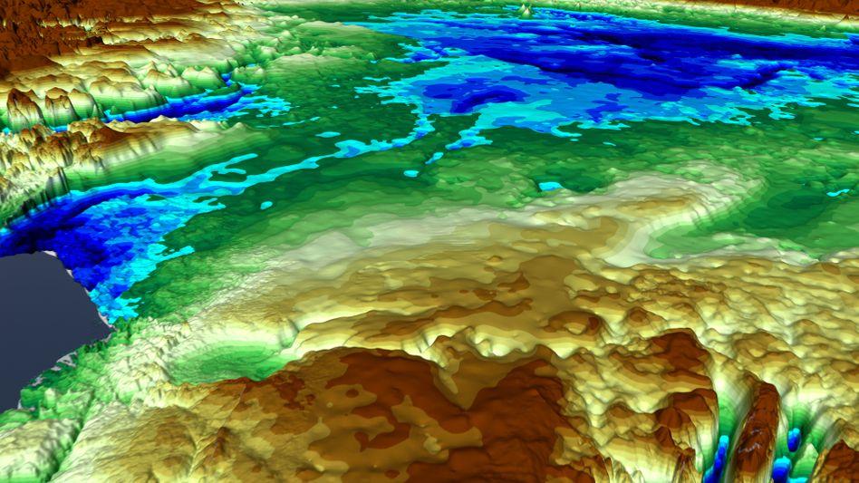 Boden unter dem Eis Grönlands - der neue Impaktkrater liegt rechts oberhalb der Bildmitte