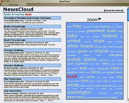 "Screenshot ""News Cloud"": Schlagwortwolke aus Schlagzeilen"