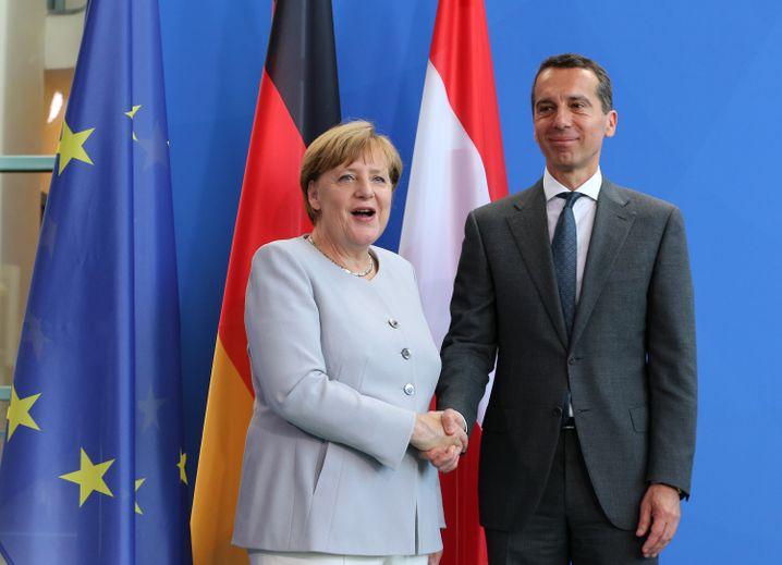 Merkel und Österreichs sozialdemokratischer Kanzler Kern