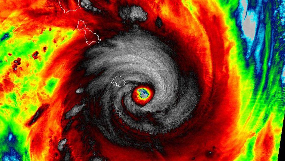 """Mächtiger Zyklon: Falschfarbenaufnahme von """"Pam"""" über Vanuatu"""
