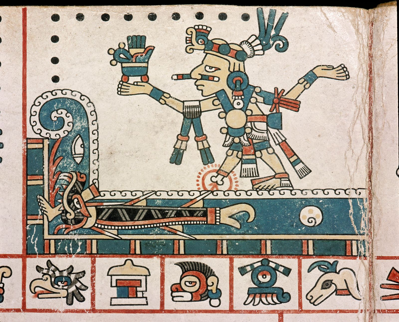 A panel from the Codex Fejervary Mayer shows how Tezcatlipoca tempted the Earth Monster to the surface of the great waters by using his foot as bait