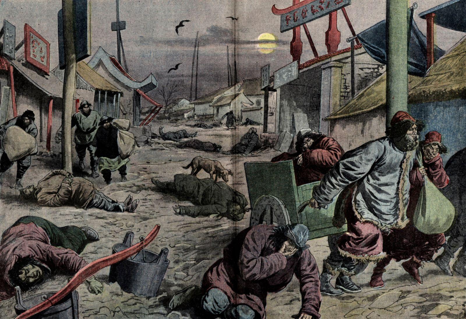 PESTE annees 10 Les horreurs de la peste en Mandchourie : les habitants valides fuient affoles, abandonnant les cadavres