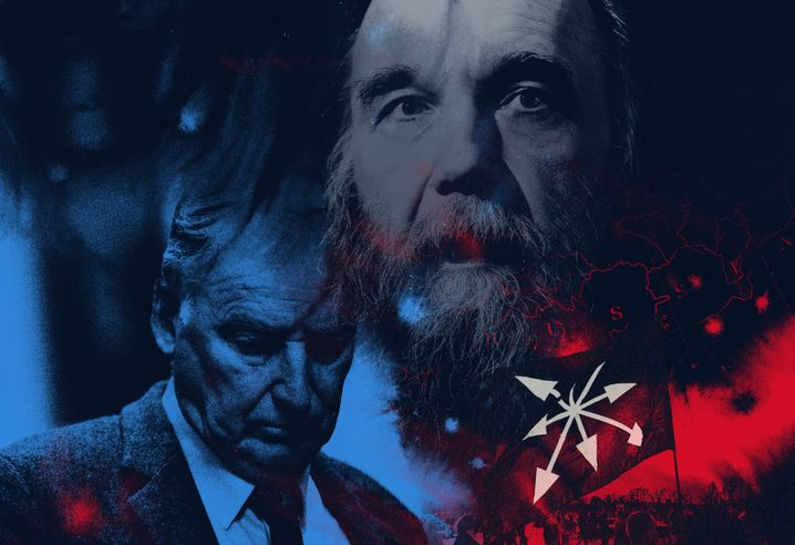 """AfD party leader Alexander Gauland (ledt) and Russian ideologist Alexander Dugin: The Russian leadership sees the biggest opposition party in the Germany parliament, the Bundestag, as an ally in the war against """"degenerate Europe."""""""