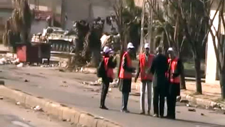 An video grab of Arab League observers in Homs on Dec. 27.