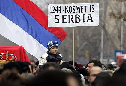 """""""Kosovo Is Serbia."""" Serbs held a rally in the ethnically divided Kosovo city of Mitrovita on Tuesday to protest against Kosovo independence."""