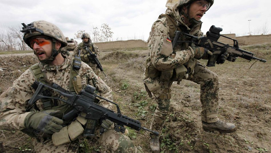 German Bundeswehr army soldiers during a firefight with insurgents near Kunduz.