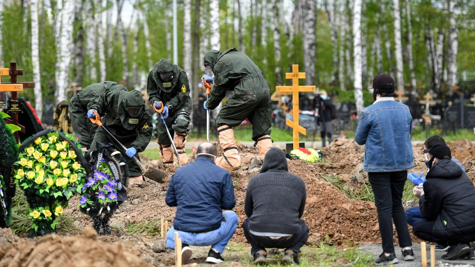 Begräbnis eines Corona-Opfers in Moskau, 15. Mai 2020