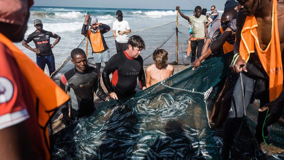 Fischer am Strand von Durban