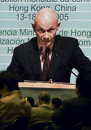 WTO Director General Pascal Lamy opening the WTO conference on Dec. 13, 2005. The meeting was accompanied by protests.