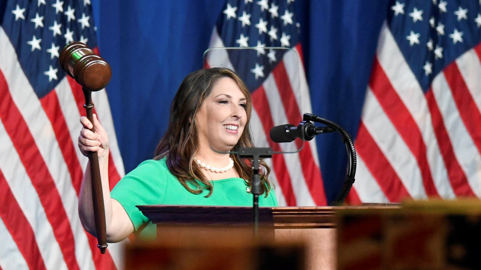 RNC Chairwoman Ronna McDaniel reacts at the Republican National Convention at the Republican National Convention in Charlotte