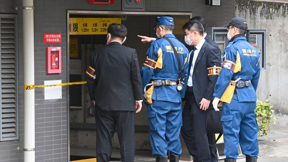 Unfallort in Tokio: Einer der Arbeiter konnte sich ins Freie retten