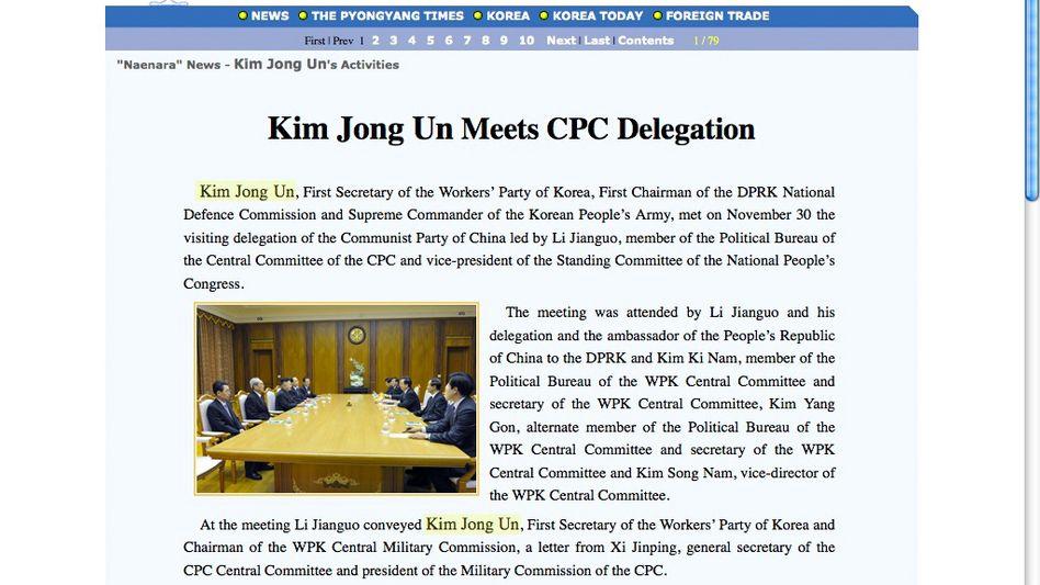 Nordkoreanische Website Naenara: Der Name Kim Jong Un ist stets hervorgehoben.
