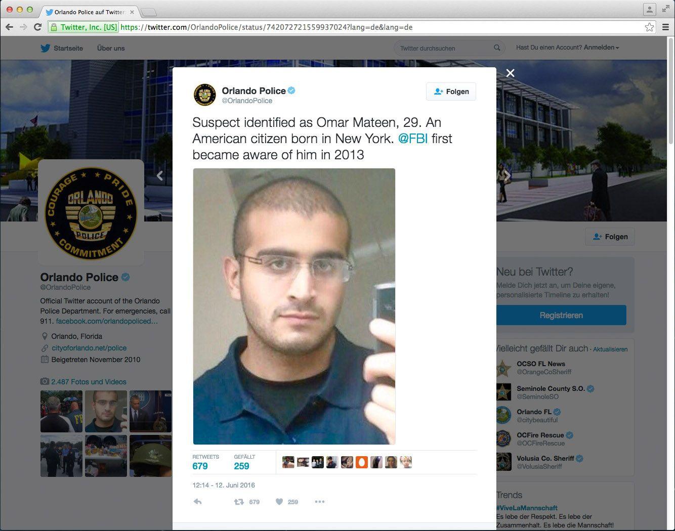 EINMALIGE VERWENDUNG SCREENSHOT / Orlando Police / Omar Mateen