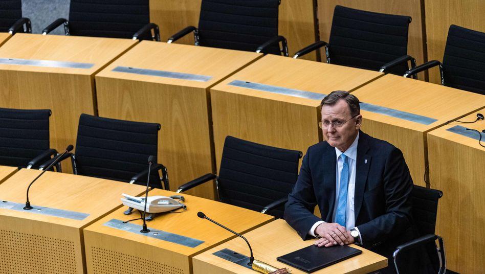 Ministerpräsident Ramelow allein im Thüringer Landtag: Mit der Wahl ist der Anteil weiblicher Abgeordneter von 42 auf 31 Prozent zurückgegangen
