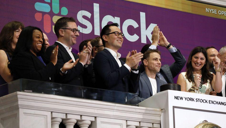 Jubel für den Gründer: Stewart Butterfield (zweiter von rechts) im Applaus zum Börsenstart