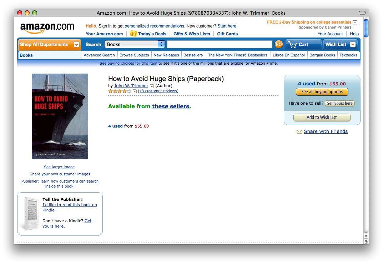 NUR ALS ZITAT Amazon #3 / Schiffsmeidung / Screenshot