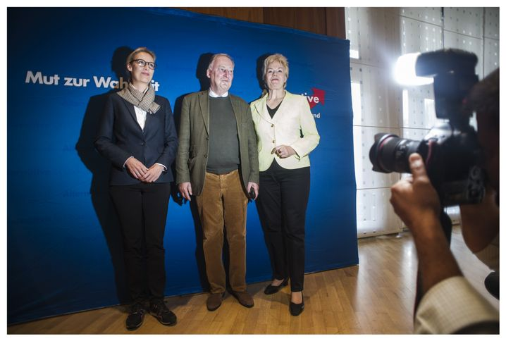 AfD lead candidates Alice Weidel (left) and Alexander Gauland together with Erika Steinbach, an erstwhile Christian Democrat parliamentarian who is now supporting the AfD.