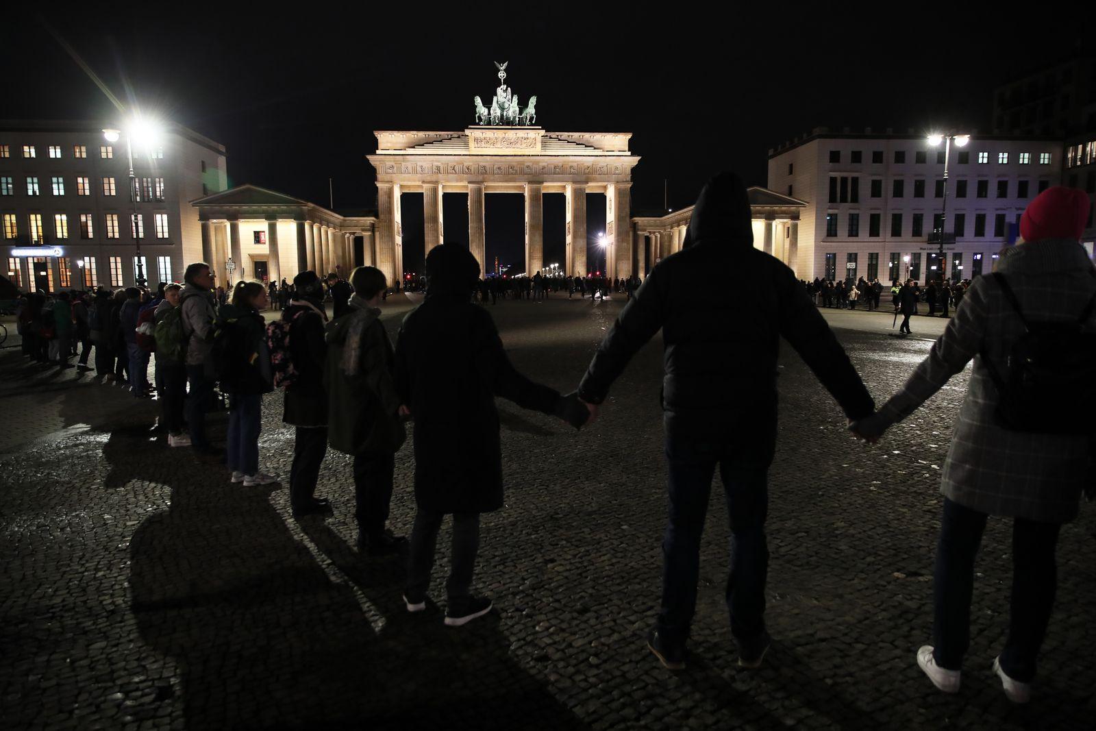 Vigil after Hanau terror attack in Berlin, Germany - 20 Feb 2020