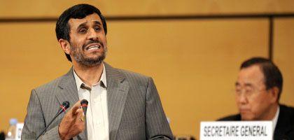Irans Präsident Ahmadinedschad bei seiner Rede in Genf: Scharfe Angriffe gegen Israel
