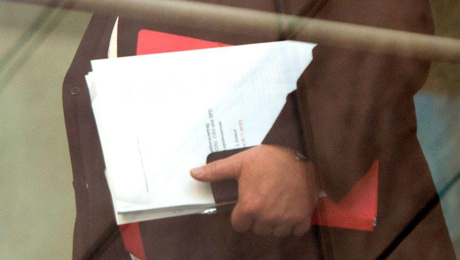 SPD-Fraktionschef Steinmeier mit dem Koalitionsvertrag: Noch manche dicke Brocken