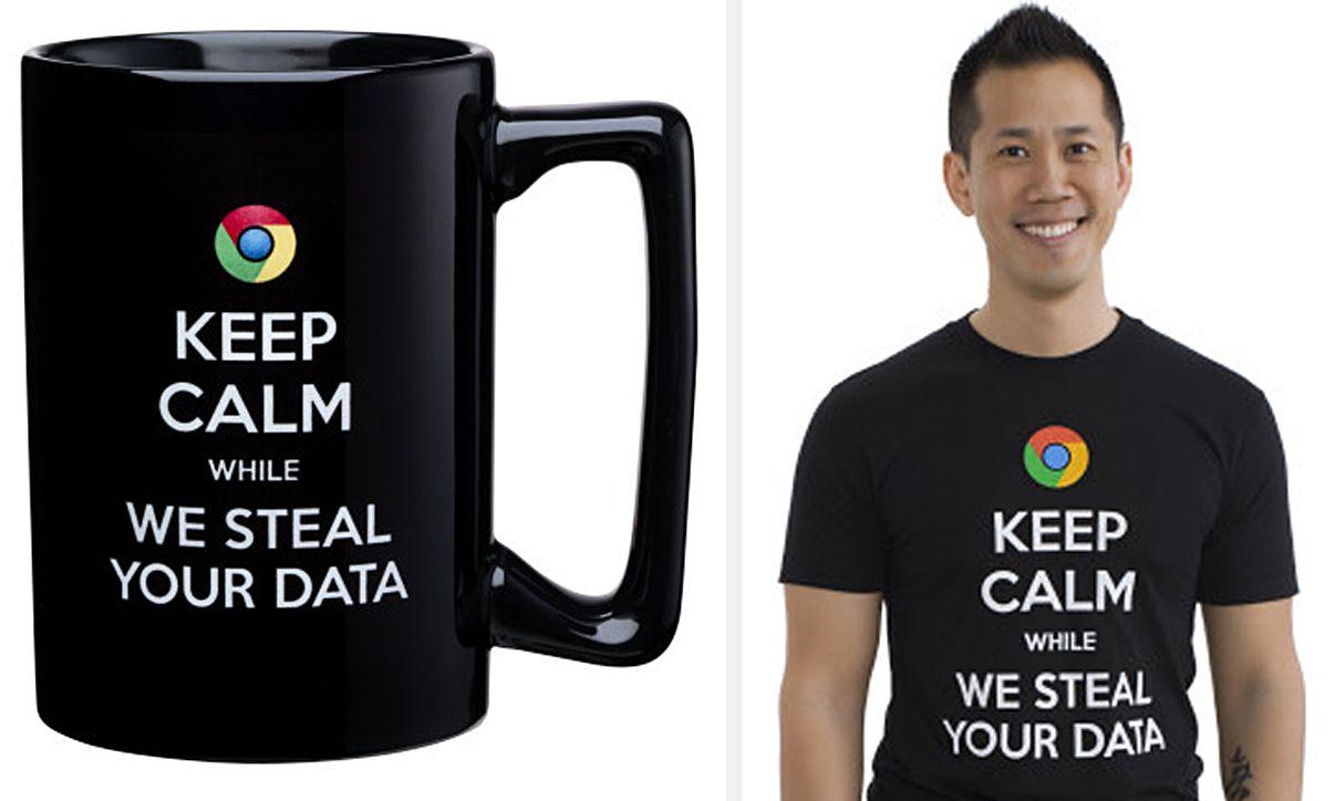 T-Shirt undTasse mit Anti-Google-Aufdrucken
