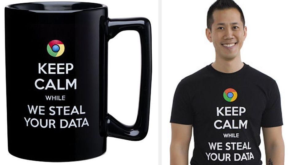 """Logo des Google-Browser mit Microsoft-Botschaft: """"Bleib ruhig, während wir deine Daten stehlen"""""""