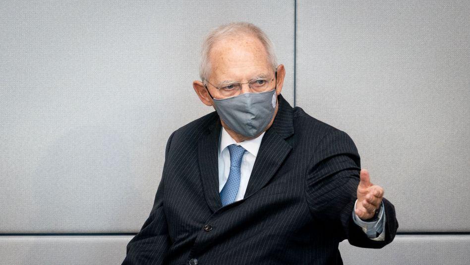 """Bundestagspräsident Wolfgang Schäuble (CDU) mit Maske: """"Frage der gegenseitigen Rücksichtnahme"""""""