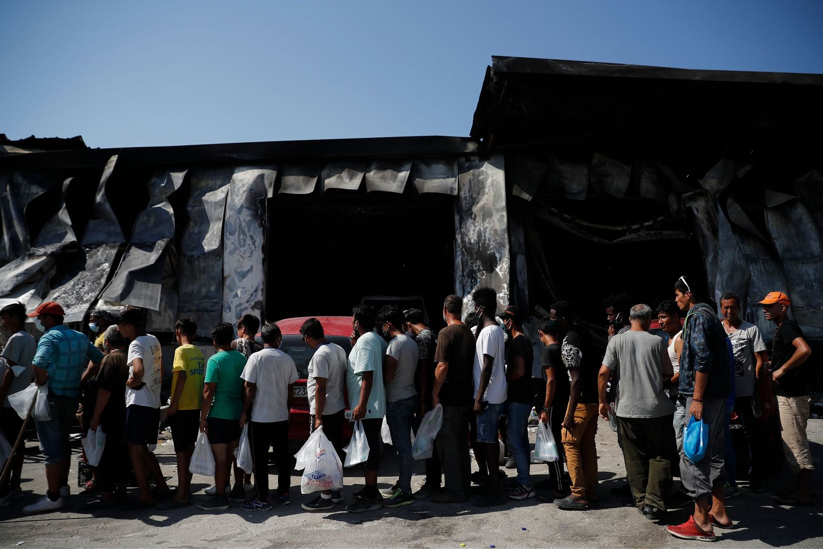 Aftermath of fire at Moria refugee camp, Mytilene, Greece - 16 Sep 2020
