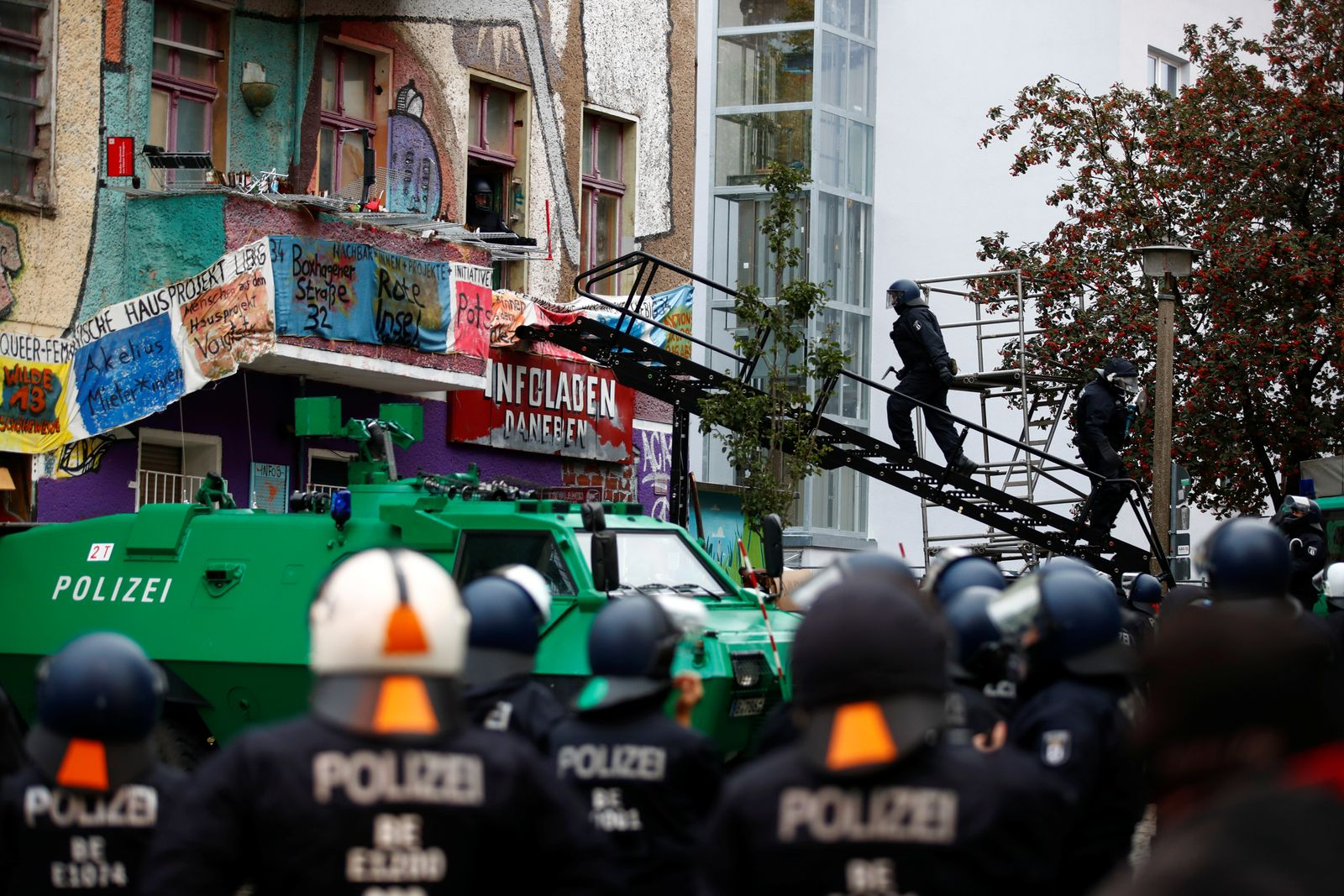 Protest by the squatted left-wing housing project Liebigstrasse 34, which faces eviction by the police in Berlin