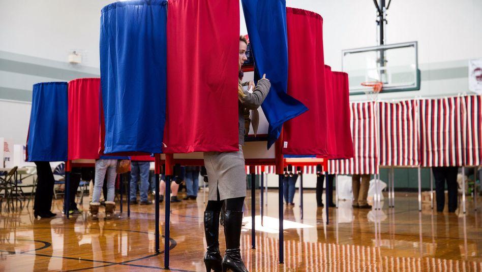 Wahlkabine in New Hampshire
