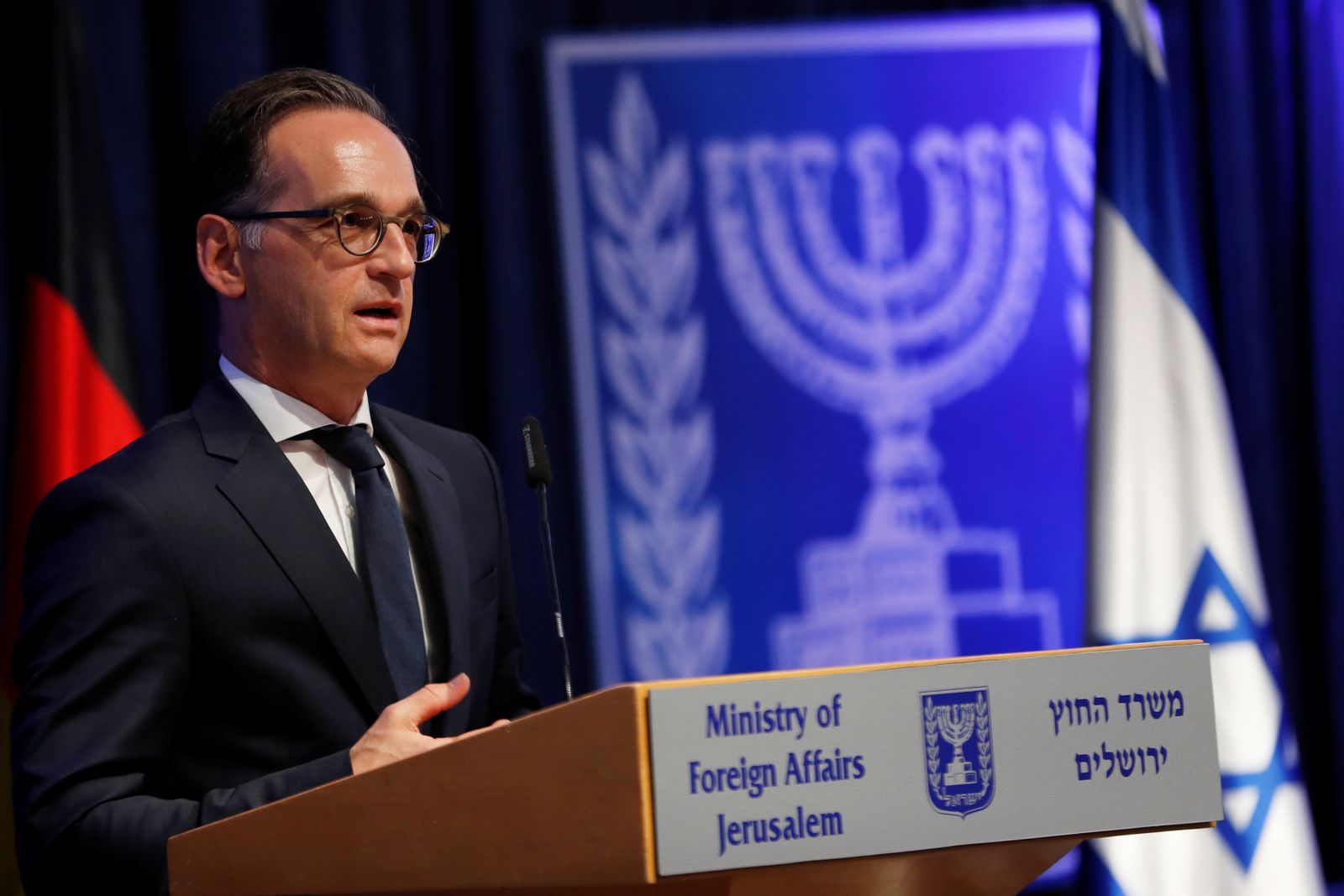 German Foreign Minister Heiko Maas gestures as he speaks during a news conference with his Israeli counterpart Gabi Ashkenazi in Jerusalem