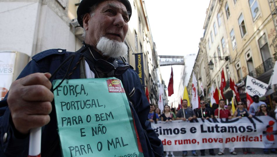 A protest against high unemployment in Lisbon on April 1. Portugal has become the third euro-zone country to ask for an EU bailout.