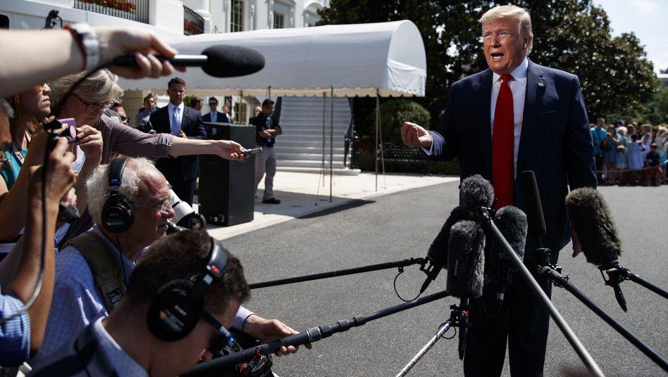 US-Präsident Donald Trump mit Journalisten in Washington