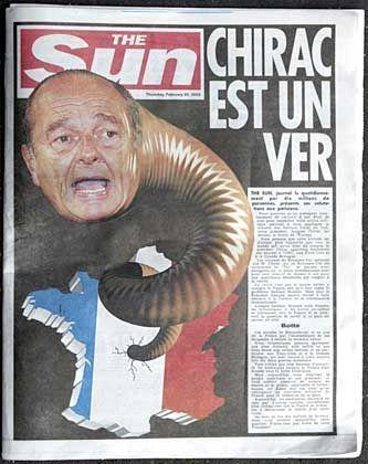 """Präsident Chirac als Wurm: Französische Sonderausgabe der """"Sun"""""""